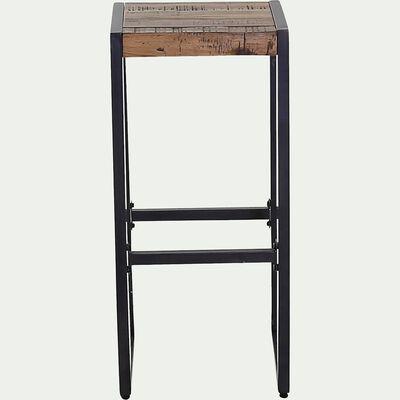 Tabouret de bar bois et métal - H76cm-OSCAR