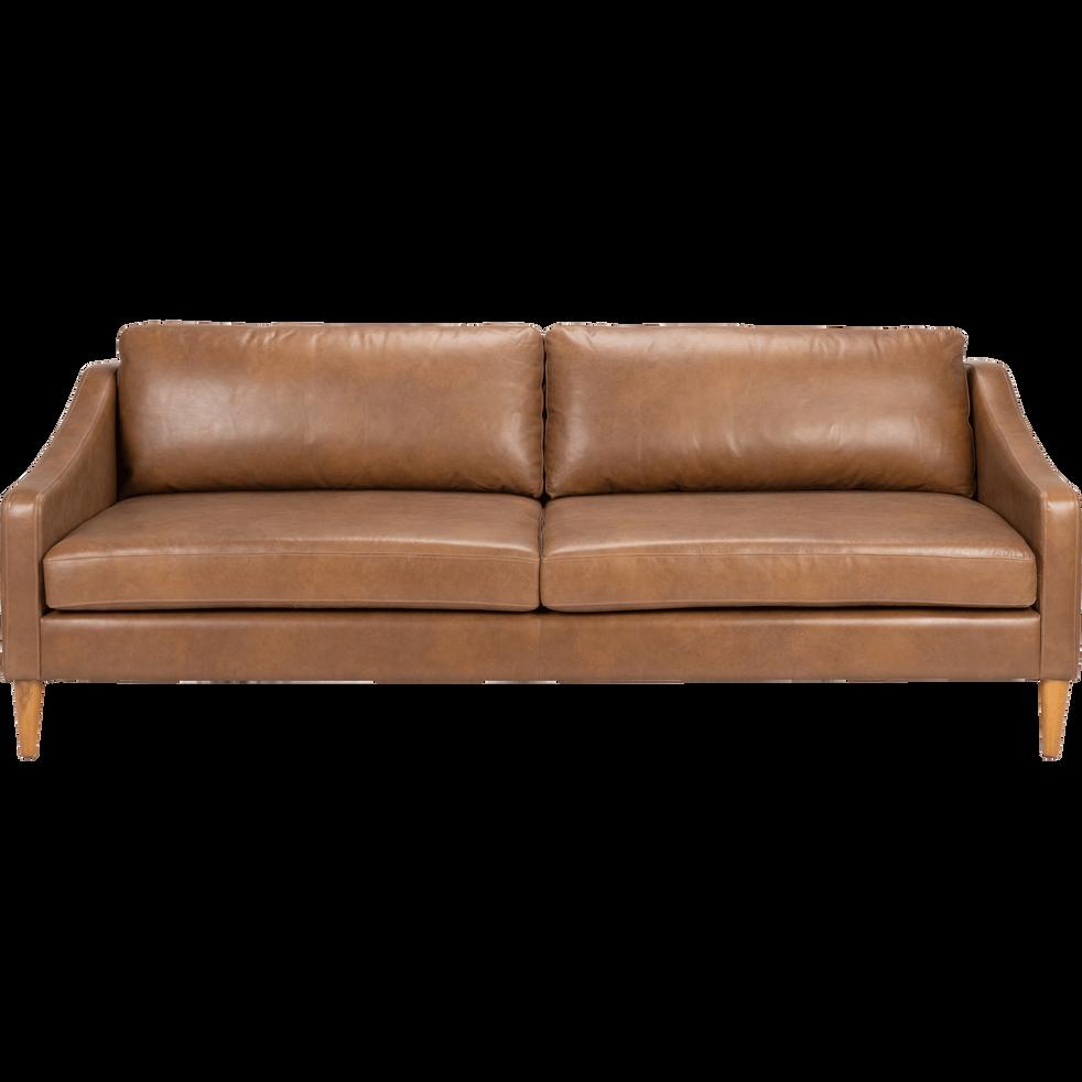 canap 3 places fixe en cuir marron albe balleti canap s droits alinea. Black Bedroom Furniture Sets. Home Design Ideas