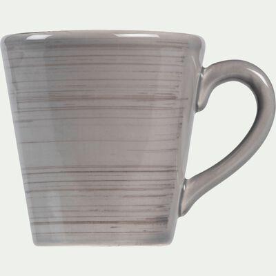 Mug en faïence gris clair effet patiné-GASTON