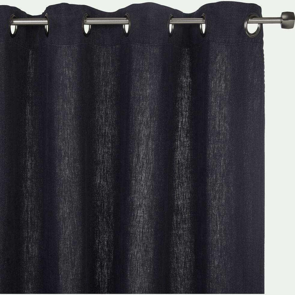 Rideau à œillets en lin lavé - gris calabrun 140x280cm-VENCE