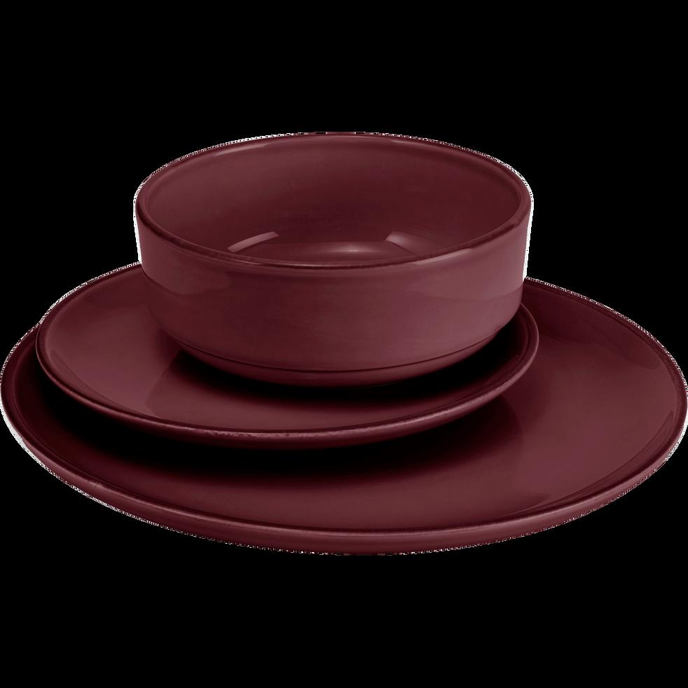 Assiette creuse en faïence rouge sumac D16cm-LANKA