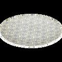 Assiette plate en grès décoré vert olivier D27cm-JASMIN
