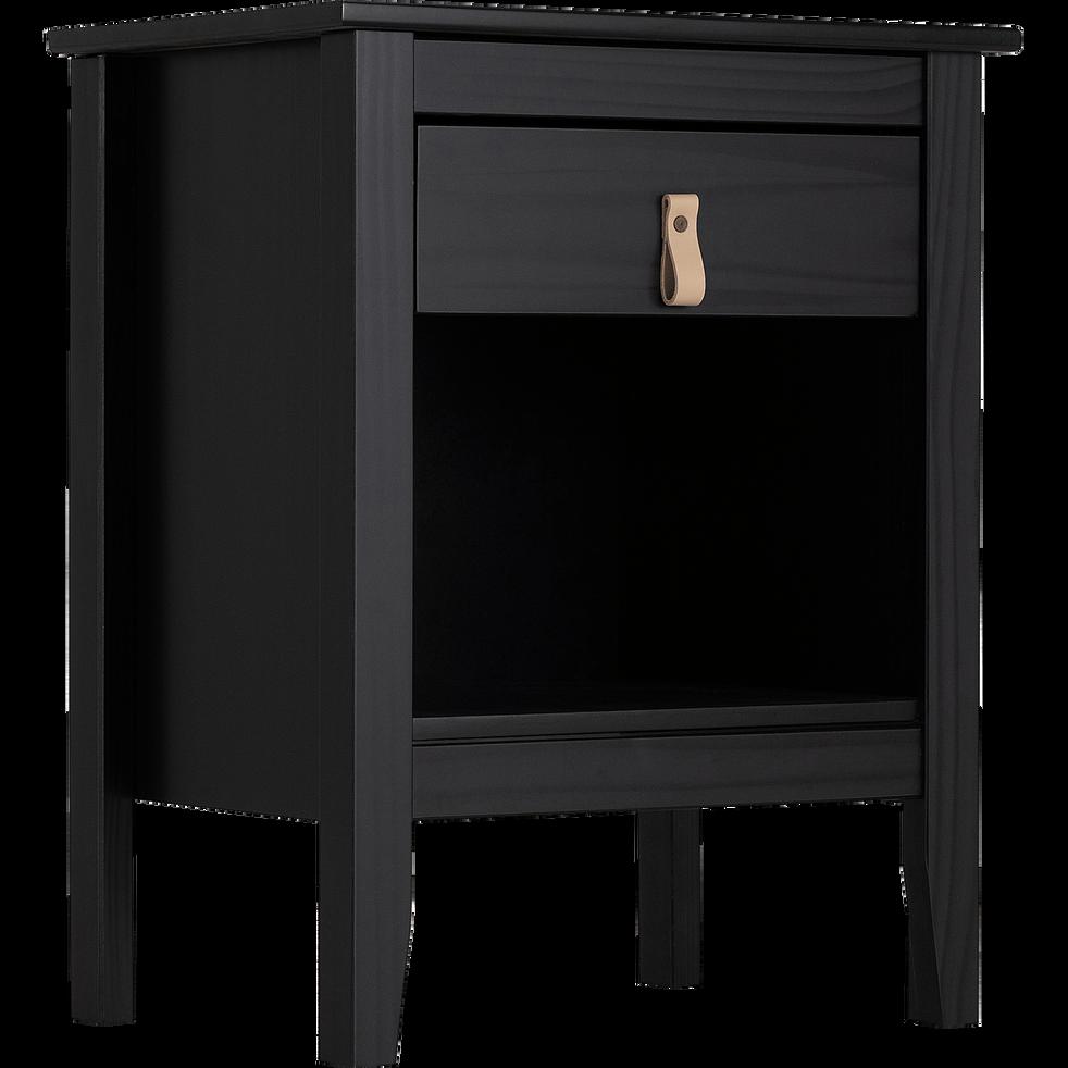 Chevet 1 tiroir pin massif noir-LISON