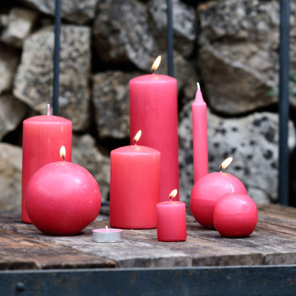 8 bougies flambeaux rouge arbouse H18cm-HALBA