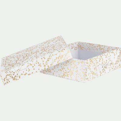 Boîte déco à motif floral doré L15xl13xH5cm-Ginko