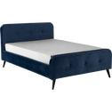 Lit 2 places avec structure en velours bleu figuerolles 160x200cm-AGNES