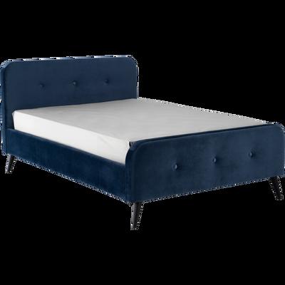 Lit avec structure et tête de lit en velours bleu figuerolles (plusieurs tailles)