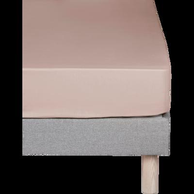 Drap housse en percale de coton Rose argile 140x200cm bonnet 25cm-FLORE