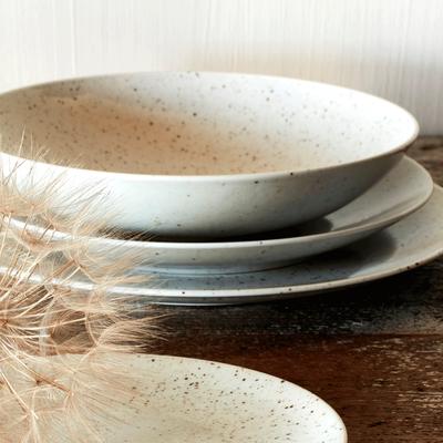 Assiette plate en porcelaine blanche mouchetée D26cm-JEANNE