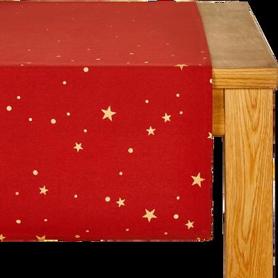 Chemin de table en coton rouge à motifs dorés 45x145cm-OPERA
