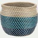 Panier à linge en jonc de mer - naturel et bleu D36xH31cm-SIMON