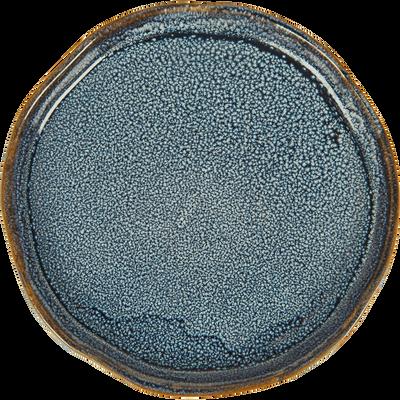 Plateau rond en céramique bleu D14cm-ARAL