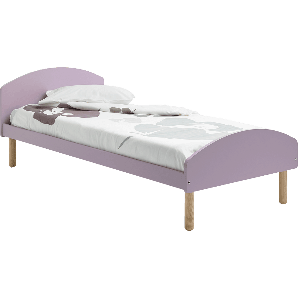 lit 1 place en pin massif mauve avec sommier 90x200 cm toudou 90x200 cm lits enfants 1. Black Bedroom Furniture Sets. Home Design Ideas