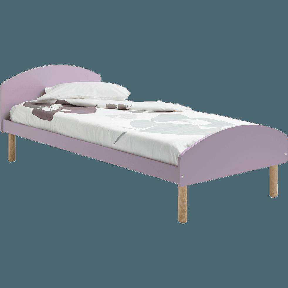 lit 1 place en pin massif mauve avec sommier 90x200 cm toudou 90x200 cm lits enfants 1. Black Bedroom Furniture Sets. Home Design Ideas