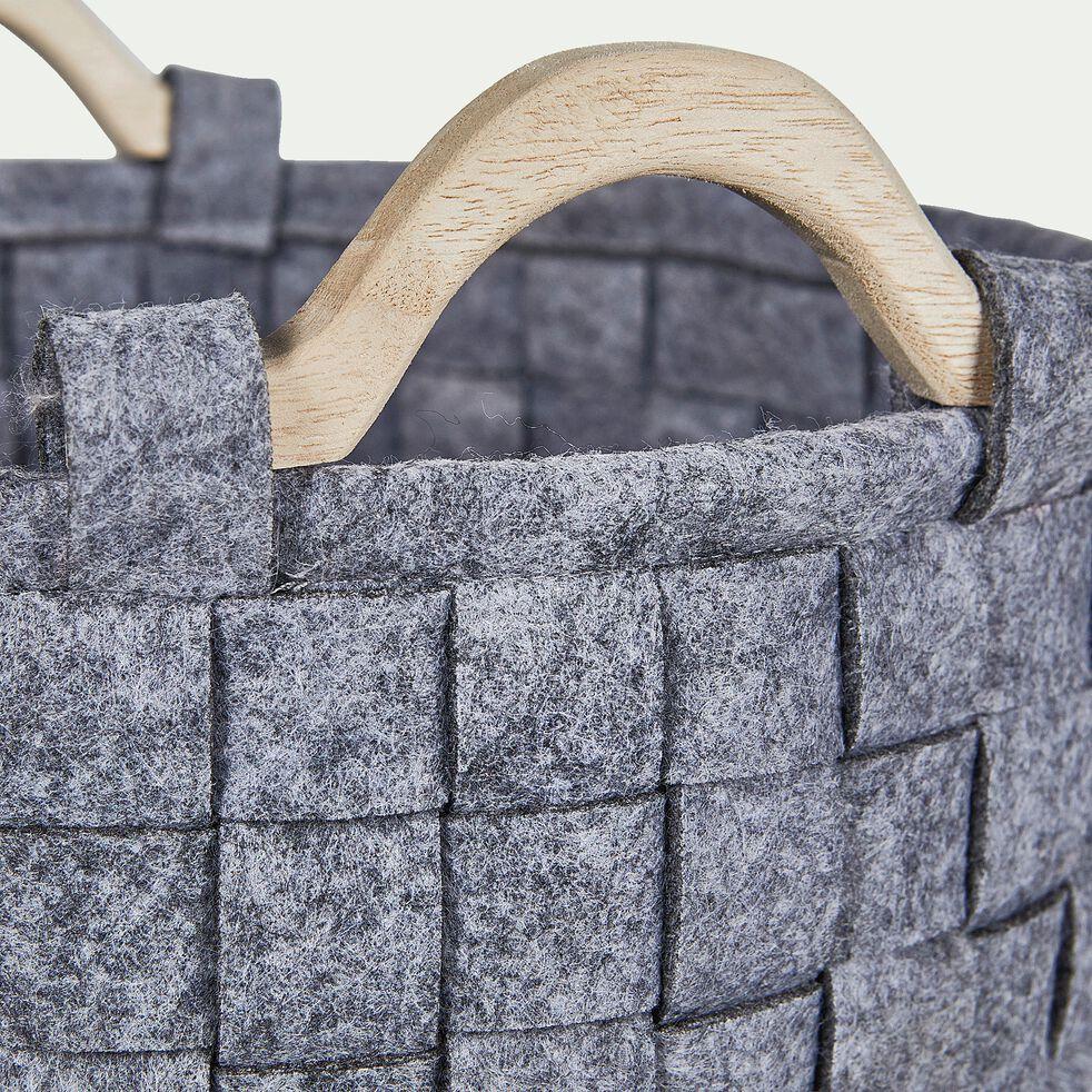 Panier en tissu gris D26xH14,5cm-Emile