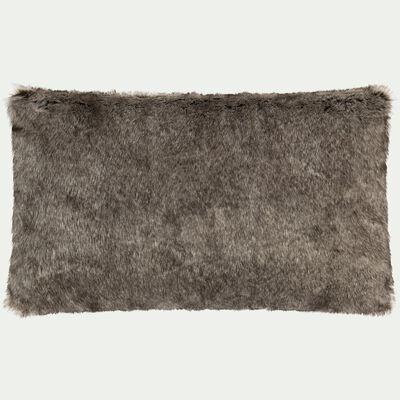 Coussin polyester et acrylique marron 30x50cm-GUSTAVE