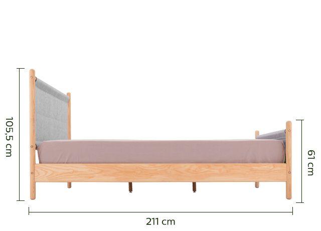 Lit 2 places en frêne massif avec habillage en feutrine grise - 140x200 cm-THEOULE