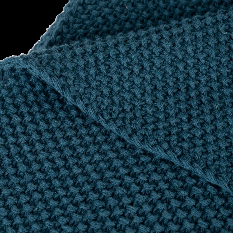 Plaid tricoté en coton bleu figuerolles 130x170cm-VERDON