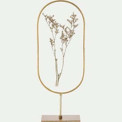 Décoration à poser en verre et fleurs séchées - doré H30cm-PIMA