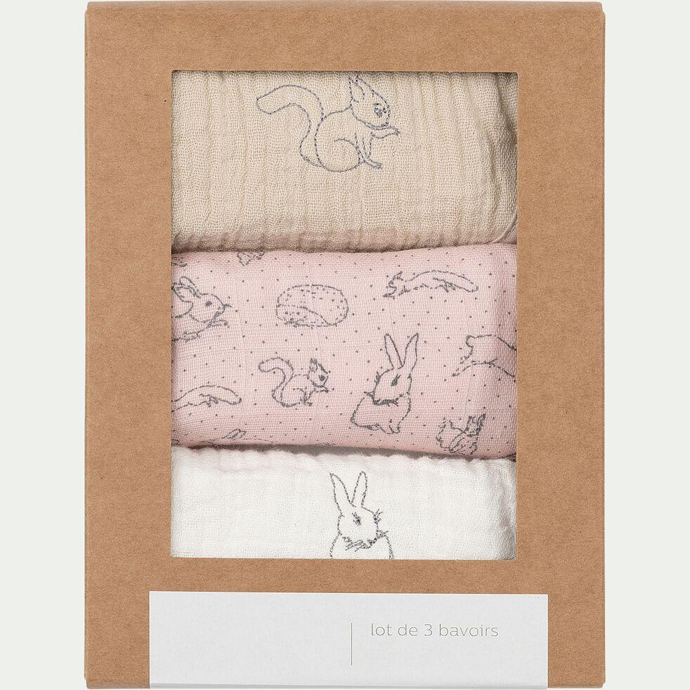 Lot de 3 bavoirs bébé en gaz de coton bio avec broderie & imprimé - plusieurs coloris-Nuage