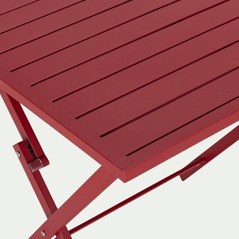 Table de jardin carrée en aluminium - rouge sumac (2 places)-VITOR