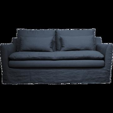 Canapé 3 places fixe jupe longue en lin bleu myrte-FITOU