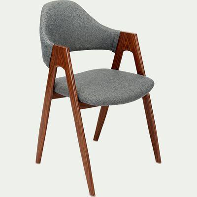 Chaise en tissu et effet bois - gris ardoise-GARETTE