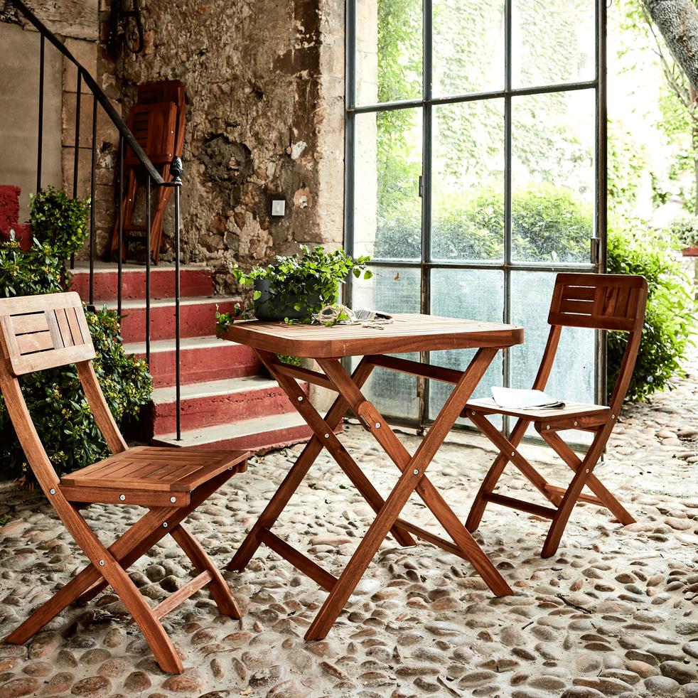 Table de jardin pliante en acacia huilé (2 places)-Youk