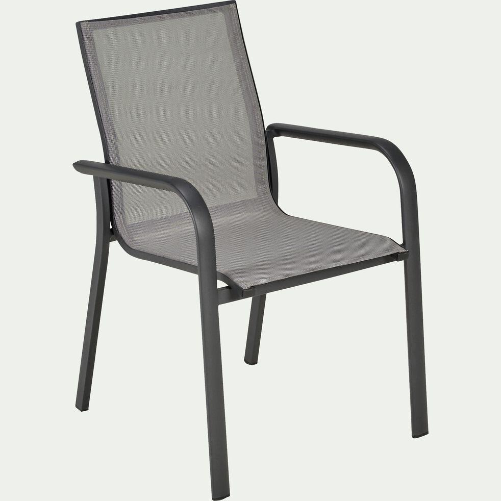 Chaise de jardin avec accoudoirs empilable gris restanque-SICILE