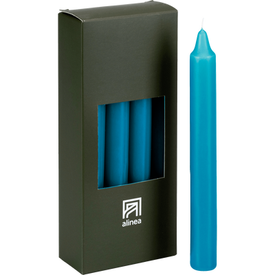 8 bougies flambeaux bleu niolon H18cm-HALBA