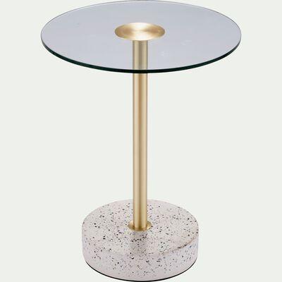 Bout de canapé en verre et terrazzo blanc-PRAONA