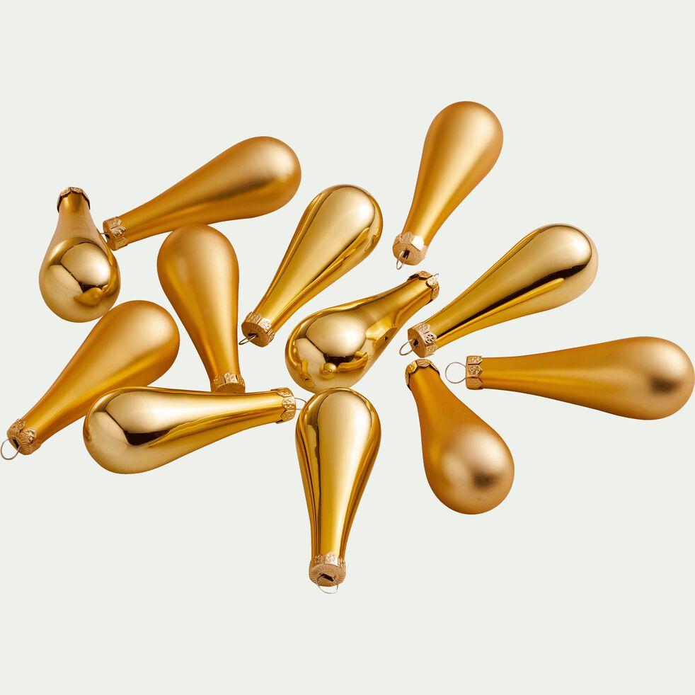 12 gouttes en verre doré H7,5cm-CLAVA