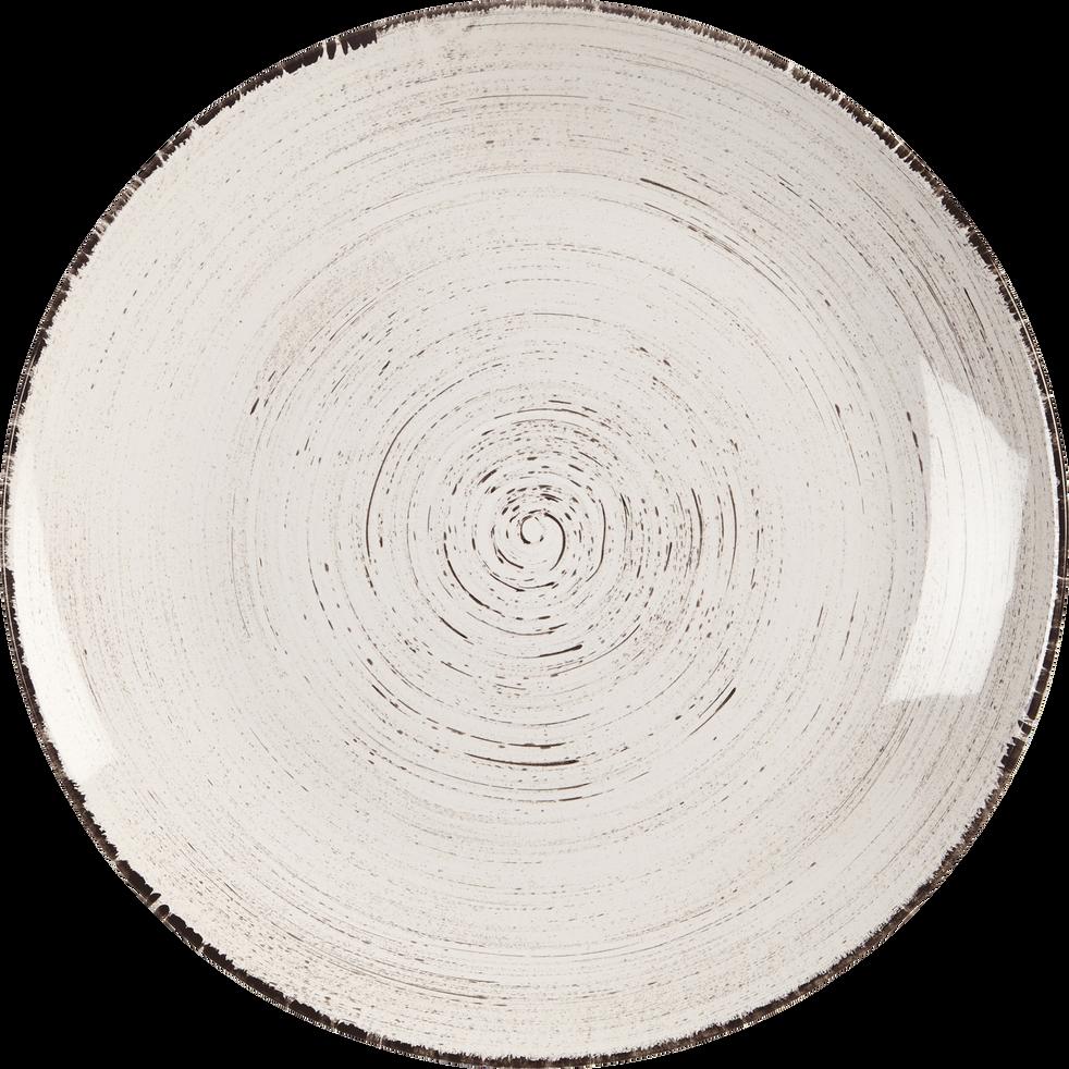 Assiette plate en faïence blanche effet patiné D27cm-GASTON