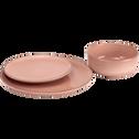 Assiette creuse en faïence rose grège D16cm-LANKA