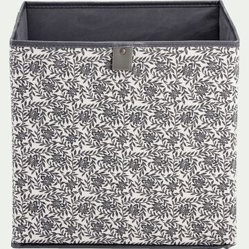 Panier à linge en lin motif jasmin - blanc 31x31cm-ERRO