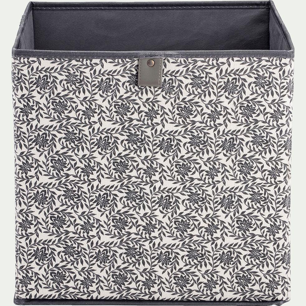 Cube de rangement en polycoton motif jasmin - blanc 31x31cm-ERRO