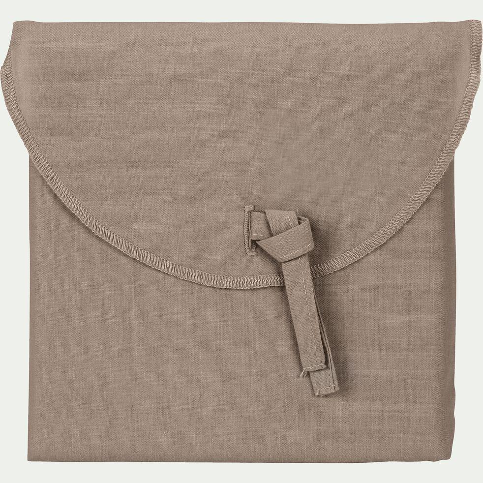Lot de 2 taies d'oreiller en coton - brun châtaignier 50x70cm-CALANQUES
