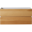 Bloc de 2 tiroirs en plaqué chêne-LORENA