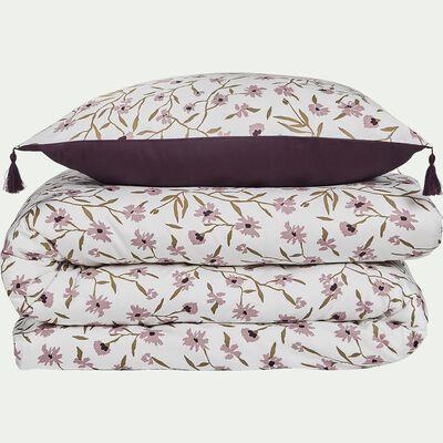 Housse de couette en satin de coton 240x220cm et 2 taies d'oreillers à motifs fleuris-DANGWA