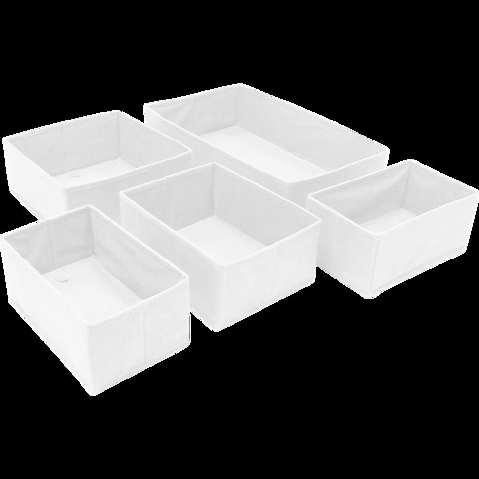 Lot de 5 paniers blancs organisateurs de tiroirs-IVY