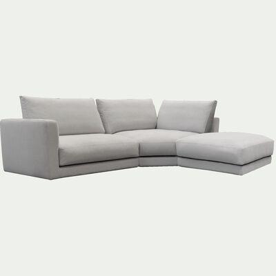 Canapé d'angle 4 places droit en tissu - beige roucas-AUDES