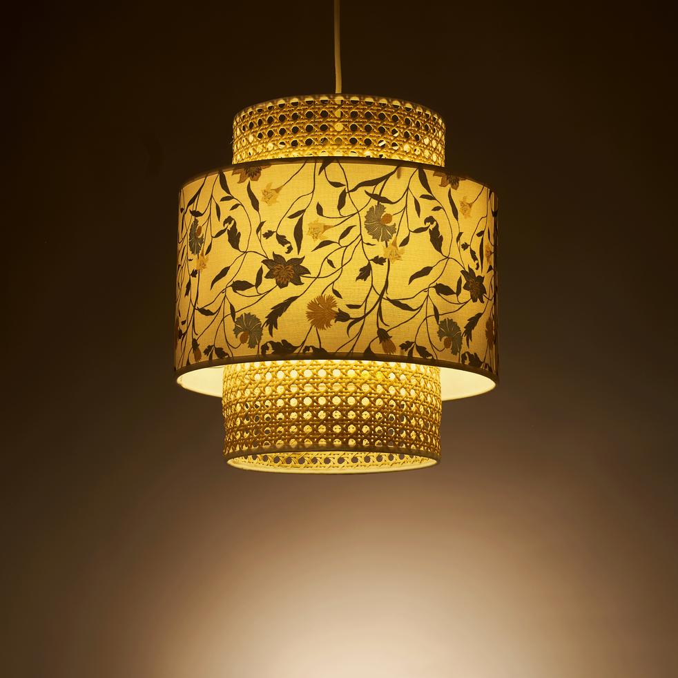 Abat-jour motif floral et cannage D30cm-ASMARA