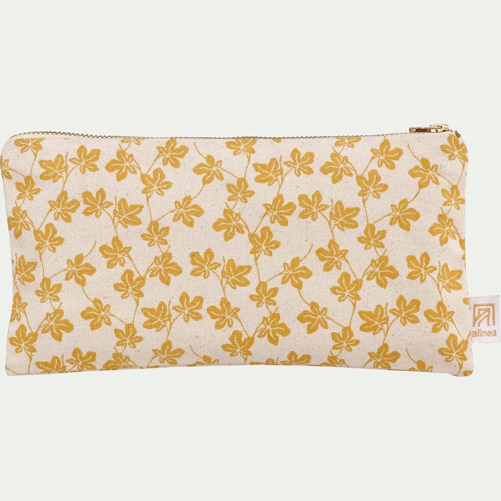 Pochette en coton motif Figuier - jaune 12x23cm-FIGUIER