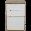 Table de chevet finition chêne clair 2 tiroirs 1 porte-MILANO