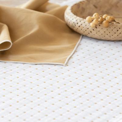 Chemin de table en coton à motifs beige roucas 50x150cm-LEA