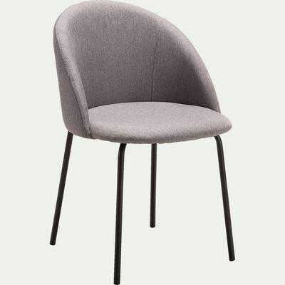 Chaise en tissu gris - piètement en métal-FAUVETTE