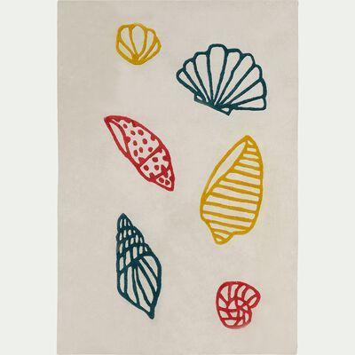 Tapis en coton imprimé coquillages - écru 120x180cm-Berlingot
