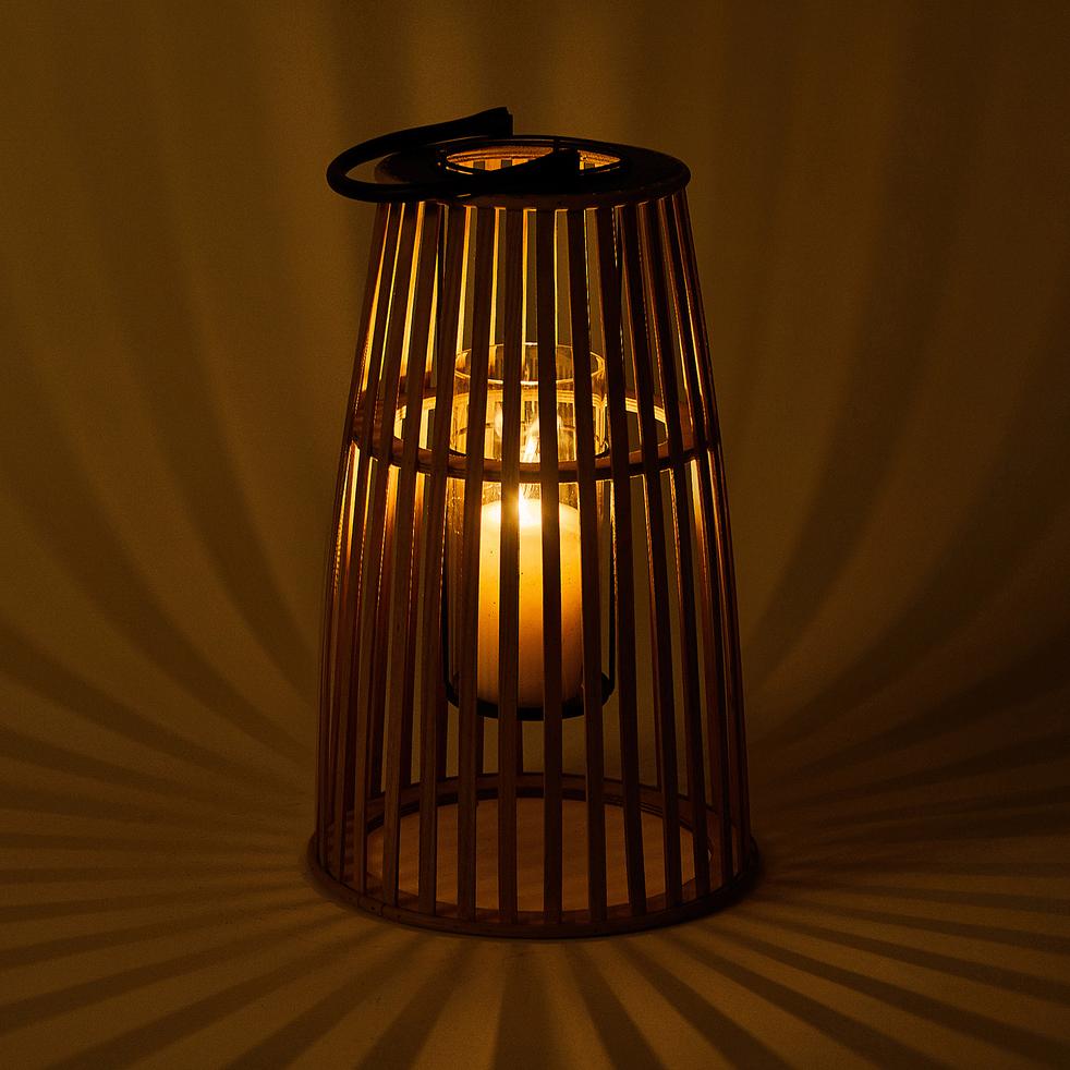 Lanterne en pin - naturel D25,5xH43cm-ERICA