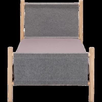 lit 1 places en frêne massif avec habillage en feutrine grise - 90x200 cm-THEOULE