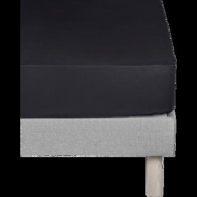 Drap housse en coton gris calabrun 160x200cm -bonnet 30cm-CALANQUES
